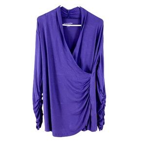 Soft Surroundings Purple Top V-Neck Ruched Sleeves